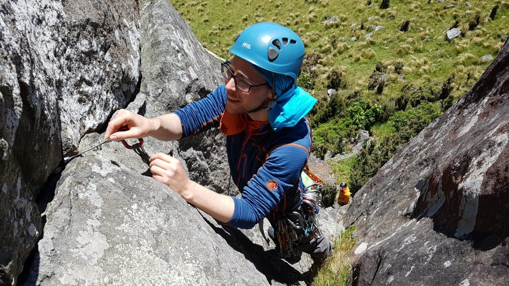 Placing gear on trad climbing course